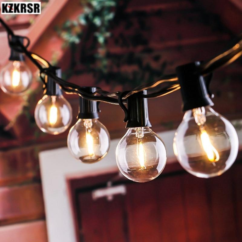 G40 Lampadine Luci della Stringa 7.5 m 25 lampadine per Indoor & Outdoor Di Natale Giardino Decorazione Del Partito bianco caldo luci di illuminazione UE/USA