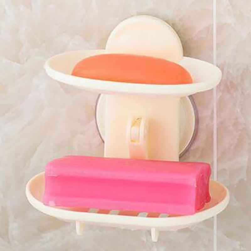 Double Layers Strong Sucker Soapbox Soap Draining Holder Dish Bathroom Box YH-459472