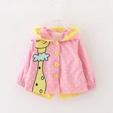Baby Girl Long Sleeve Giraffe Printing Windbreaker Short Velvet Jacket Coat Kids Hooded Outerwear 0-4Y Baby Girl Clothes basik kids hooded jacket short
