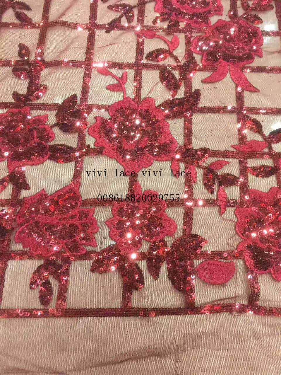 5 yards ysl004 red/grey grid flower sequin embrodiery net tulle ...