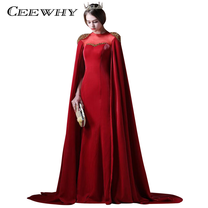 CEEWHY Vintage Long Dubai Evening Dresses With Cape Long Formal ...