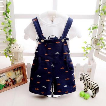 2017 new Arrival Baby boy clothing set Gentleman newborn clothes set for boys high quality cotton t-shirt + Overalls baby suit A