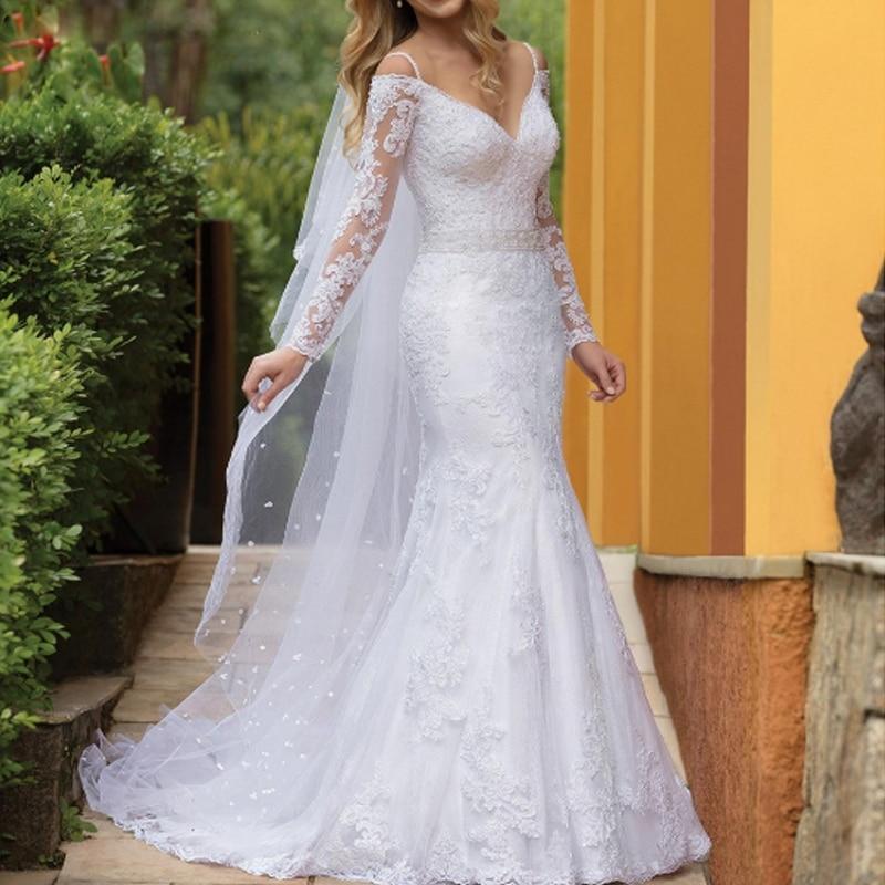 2020 Vestido De Noiva Mermaid Wedding Dress Sexy V Neck  Long Sleeves Beading Belt Lace Marriage Dress Off Shoulder Custom Made