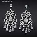 Mecresh Luxury Chandelier Shape Cubic Zirconia Bridal Long Earrings Rhodium Plated Wedding Jewelry for Party Valentines MEH830