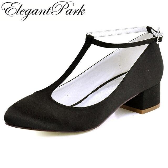 FC1616 Shoes Woman White Black Plus Size 12 Block Comfort Heel TStrap Satin Bride Lady Wedding