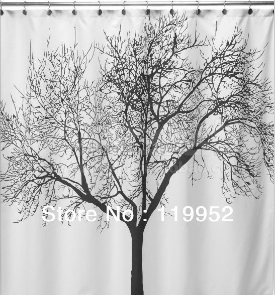 Beautiful Shower Curtains Tree Branch Pattern Polyester Fabric Bath 180200cm1pcs Lot Free Shipping CPAM