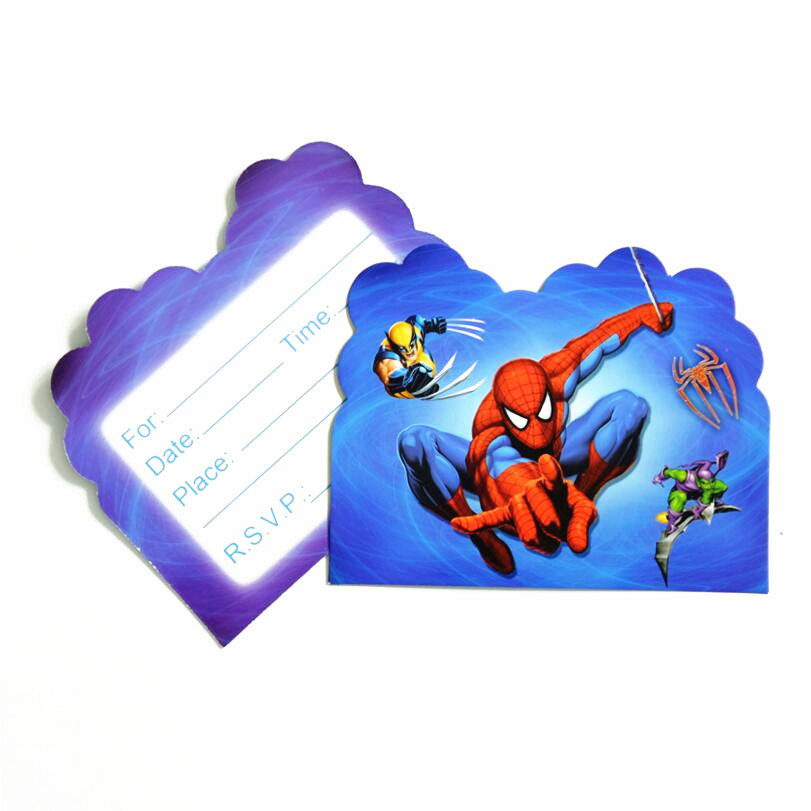 Us 2 1 10pcs Spiderman Invitation Cards For Boy Kids Birthday Decoration Party Supplies Decoration Spider Man In Cards Invitations From Home