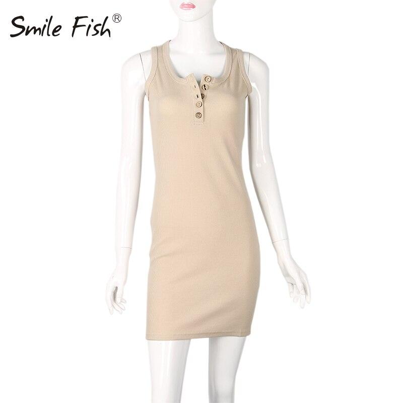 Summer Women Sleeveless O-neck Buttons Pencil Dress Casual Bodycon Sheath Sexy Sundress Mini Wrap Dress Knitted New GV090-B