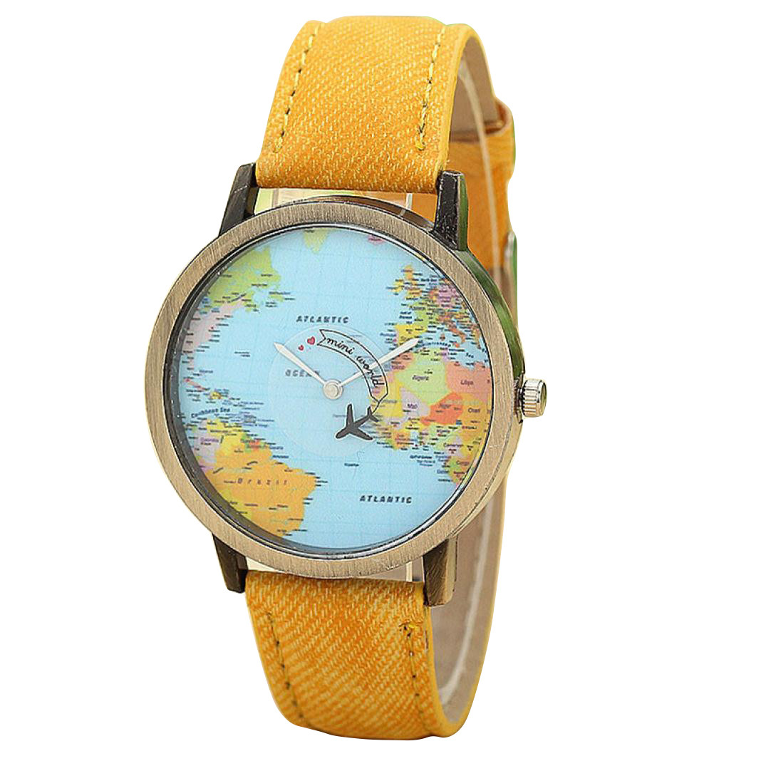 Zerotime #501 2019 Fashion New Global Travel Plane Map Women Dress Watch Denim Fabric Band Luxury Casual Gifts Free Shipping
