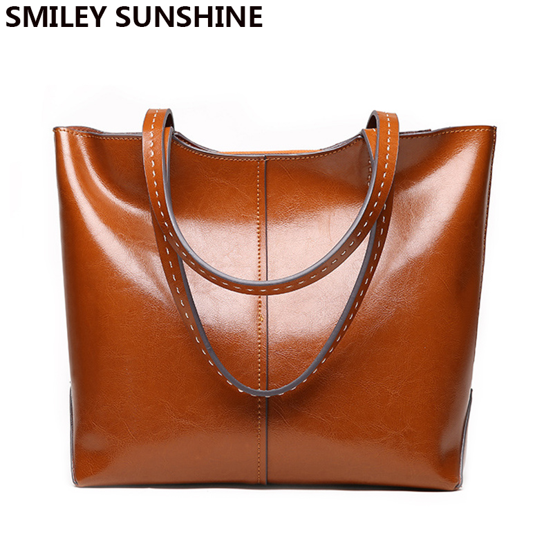 SMILEY SUNSHINE new female genuine leather bags fashion big shoulder bags luxury women leather handbags top-handle bags designer