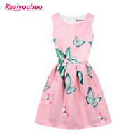 2017 Summer Kids Dresses For Girl Butterfly Floral Printed Sleeveless Casual Girl Dresses Age 6