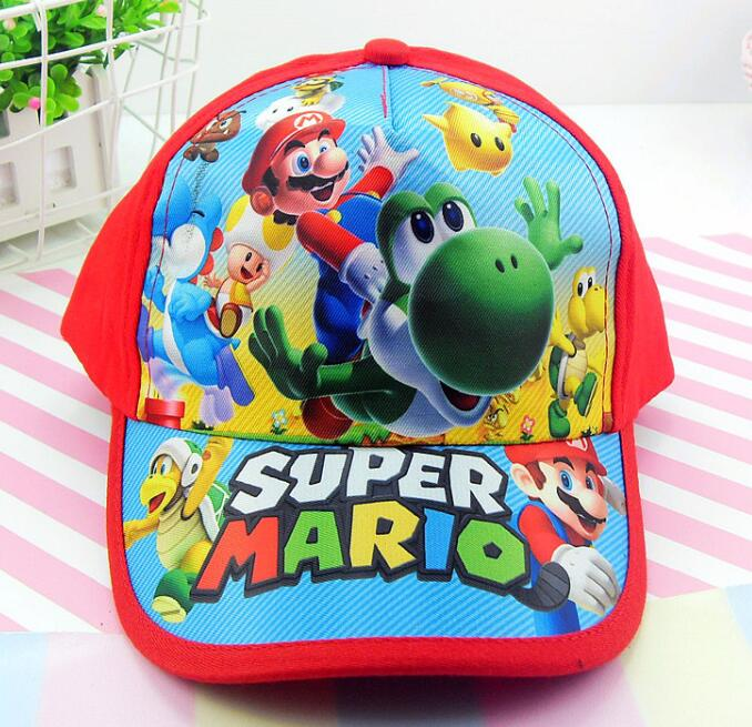 New 1pcs cartoon red Super Mario Fashion Sun Hat Mario Casual Cosplay   Baseball     Cap   children party gifts
