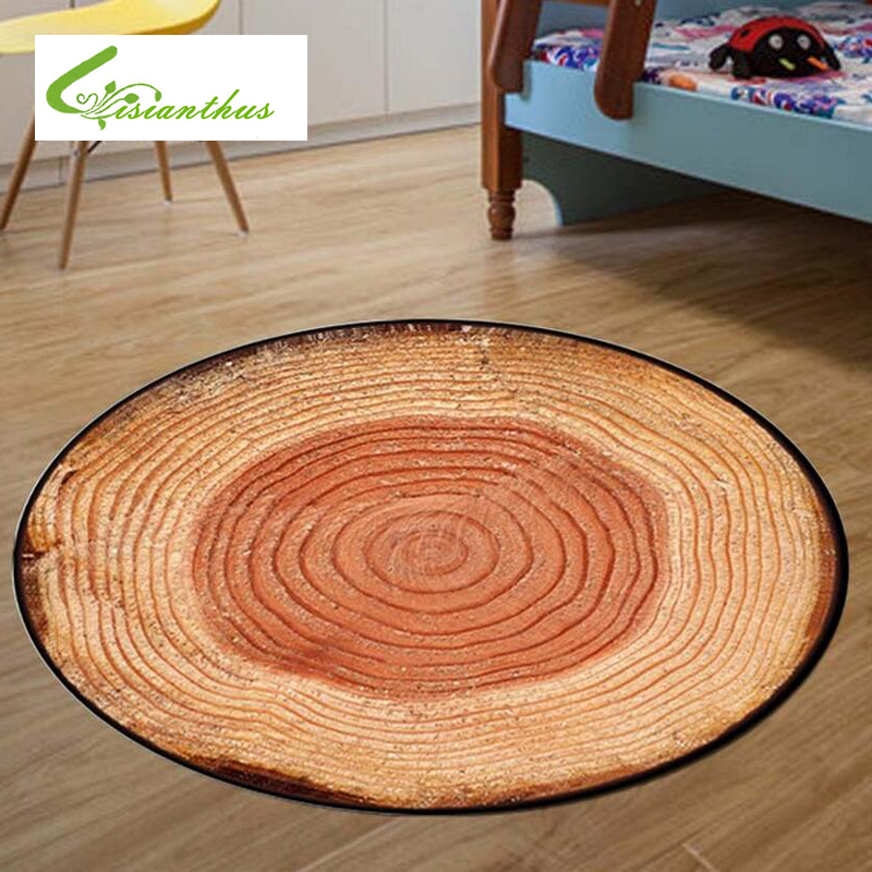 60/80/100/CM Antique Wood Tree Annual Ring Round 3D Carpet For Living Room Bedroom Study Computer Chair Mat Kids Room Rug