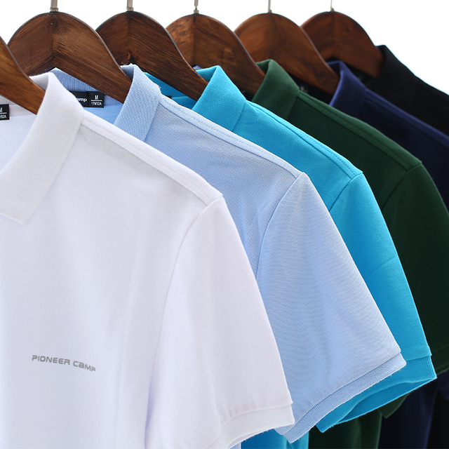 Men Polo Shirt Men Business Casual Solid Male Polo Shirt Short Sleeve High Quality Pure Cotton 2