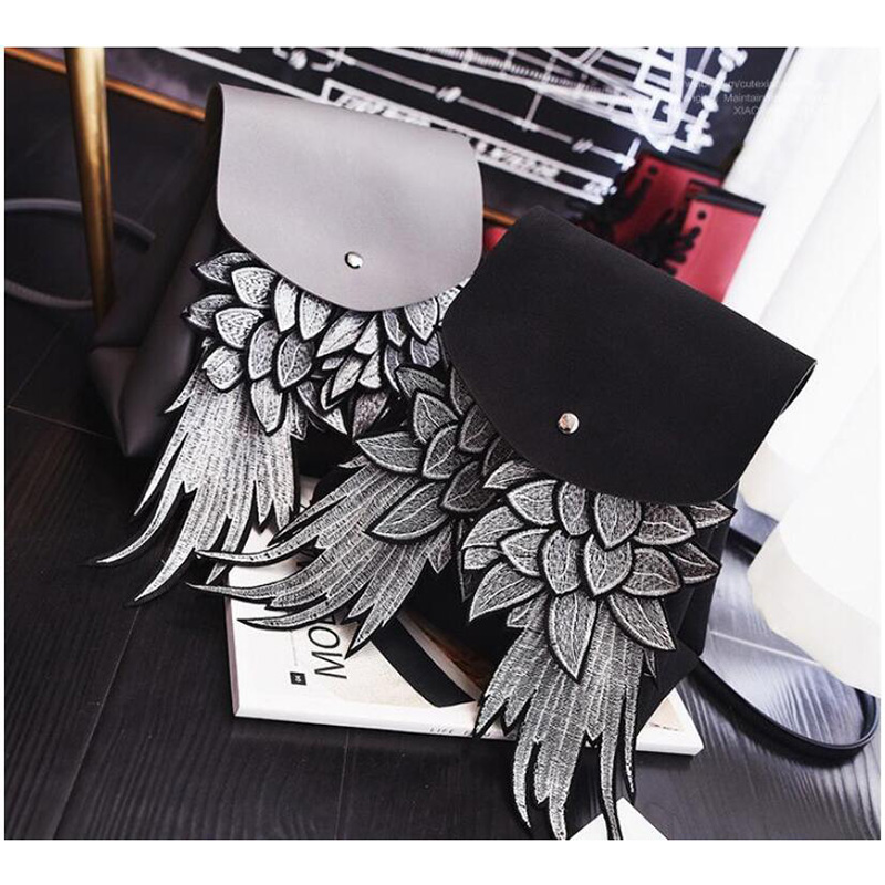 Punk Wing Backpack For Men Women Gothic Devil Leather Backpacks Vintage School Bag Steampunk Retro Motorcycle Bag PU Leather Bag