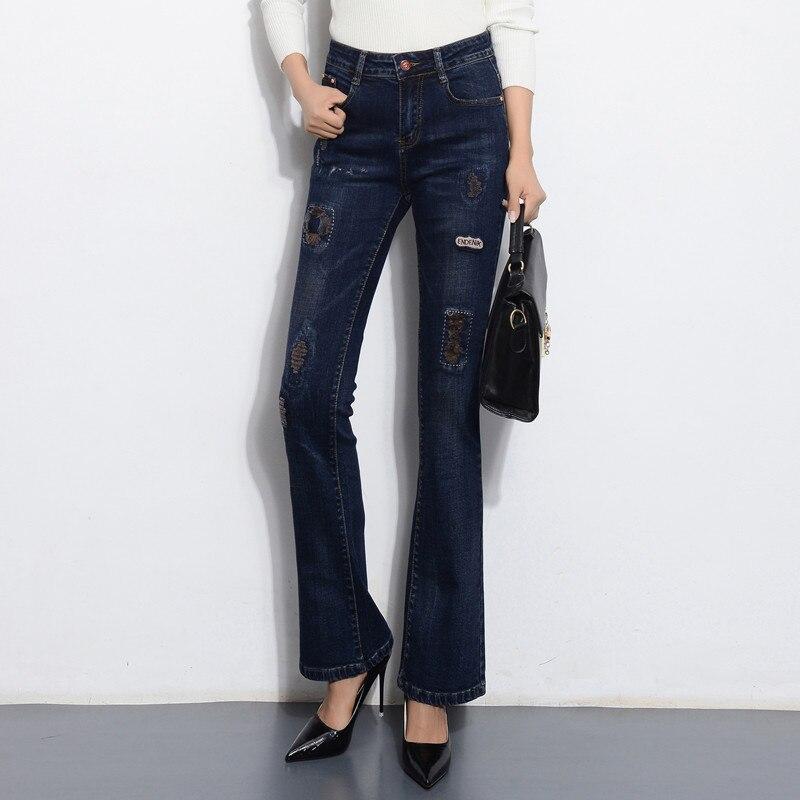 Alta Mezcla Más Moda Patchwork Pantalones Casual Denim Primavera Mujeres Smf0803 Cintura Tamaño Algodón Mujer Jeans Azul Otoño De Flare xXtxIqBPw