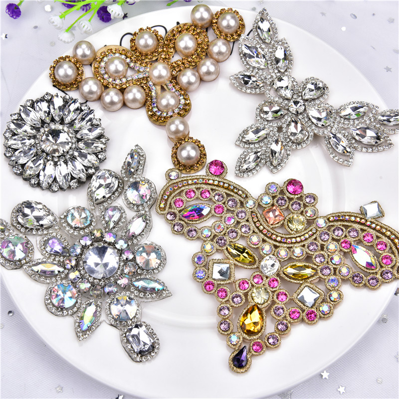 2pcs/Lot Mix Crystal Rhinestone Applique Flatback Sew On Claw Rhinestone Pearl For Wedding Dress Decoration Belt Shoes Clothing