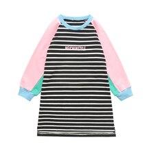 Детские футболки с длинными рукавами для девочек, одежда, пуловер, платья в полоску, весенне-Осенние футболки для девочек, топы для детей 2, 4, 6, 8, 10, 12 лет