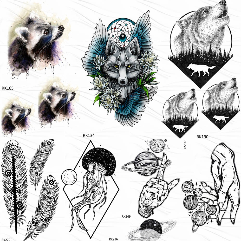 OMMGO Tribal Raccoon Wolf Temporary Tattoos Sticker Forest Round Howl Fake Tattoo Custom Tatoos Art Wings Flower Dream Catcher