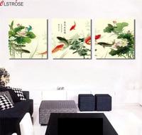 CLSTROSE 전통적인 중국 잉어 물고기 연꽃 꽃 캔버스 그림 3 개 고품질 서예 캔버스 예술 홈 장식