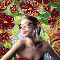 Бесплатная доставка Модный дизайн цветок ручной вырезать стеклянная мозаика фрески гостиной плитки B5TR117