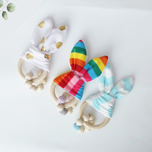 Baby Rabbit Ear And Rattle Crochet Beads Wooden Teether Chew Toys Bracelets Wood