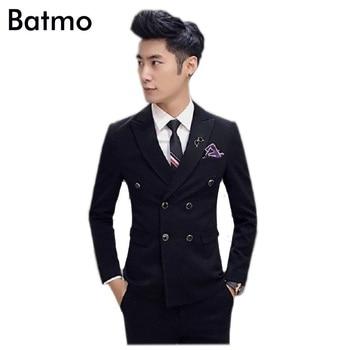 2017 new arrival cotton High quality Double Breasted black suits men, wedding dress,size S M,L,XL,XXL,XXXL,XXXXL