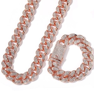 Image 5 - Uwin 20mm Heavy Miami Cuban Link Chain Necklace & Bracelet Set Full Iced Out Rhinestones Bling Bling Hiphop Jewelry For Men