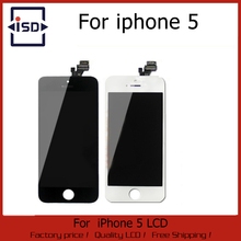 50PCS/LOT Hot Sale White and Black For iPhone 5 DIsplay 100% Top Quality Brand New Digitizer assembly LCD Screen Fast Ship