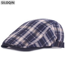 SILOQIN Spring Summer Plaid Womens Tongue Cap Literary Youth Berets For Men Women Fashion Brand Caps Adjustable Size Mens Hats
