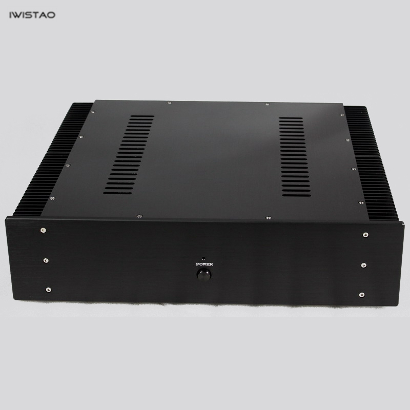 IWISTAO HIFI Amplifier Casing Class A W463*D430*H113mm Whole Aluminum Pure Power Stage 2 Plates Heatsink Black DIY ultra class a amplifier 2x80w stereo integrated power headphone amp audio whole aluminum casing black hifi