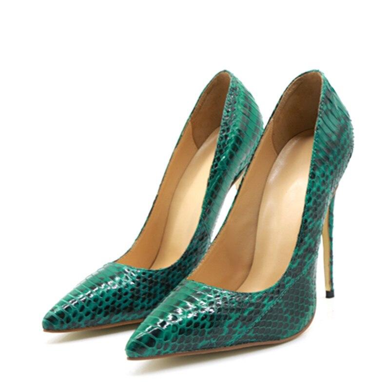 Hauts Vert Motif Party Pour Sexy De Chaussures Aiguilles Python Club Mariage 2018 Nouveau Femmes 43 Grande Talons Taille Pompes 5OOxYA