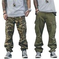 2017 moda gevşek Uzun Erkekler kargo Ordu Askeri kamuflaj Pantolon Jogger Pantolon Donatılmış Dipleri streetwear hiphop Cep pantolon