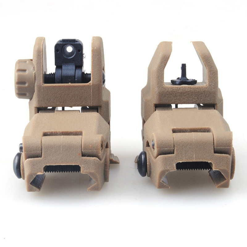 2 st / lot 20MM Gen1 Tactical Folding BUIS Sight Set Fram Bak - GEN 2 Dark Earth w / Free MSP Silikon Gun Cloth Hunting Set P2