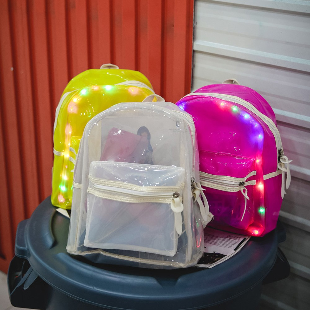 anti-theft backpack Glitter Jelly Women's Bag Lantern LED Light Transparent Backpack Electronic Bag Preppy Style Soft  Teenage