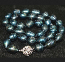 """10-11mm blue-black Tahitian pearl necklace Natural Science 18 """" -Bridal jewelry free shipping"""