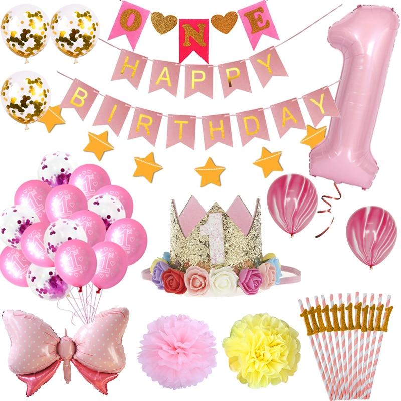Baby Girl Baby Shower Newborn 1st first Birthday Party Balloons Balloon