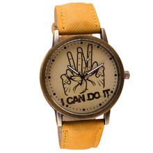 "Fashion Women's Wrist Watch Free Shipping Students Vintage Unisex Casual ""I Can Do It"" Jean Band Quartz Wrist Watch Hot Sale"
