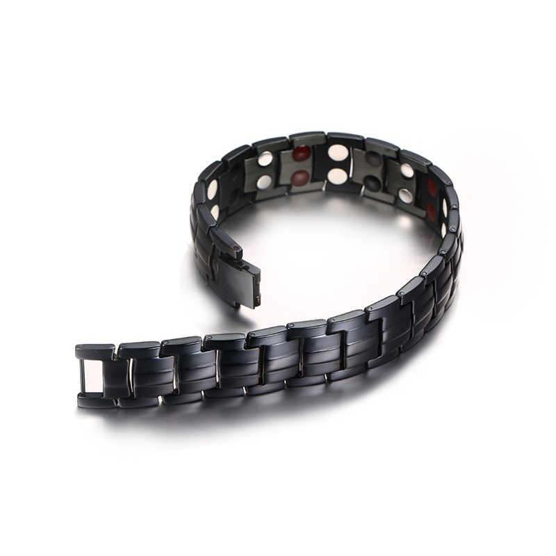 Pulsera Vinterly negra para hombre, cadena de mano, energía, salud, germanio, pulsera magnética para hombres, pulseras de acero inoxidable para mujeres y hombres
