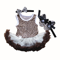 Baby Girl Tutu Dress Infant First Birthday Party Outfit Romper Leopard 3pcs Sets Summer Bebe Skirt