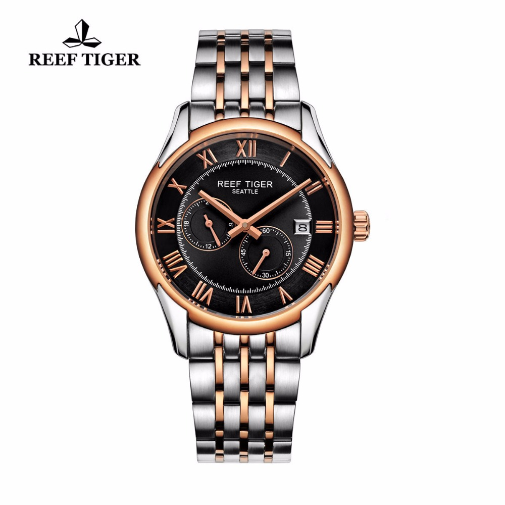 Reef Tiger/RT Business Watches For Men Automatic Watch Rose Gold Stainless Steel Watch with Date RGA165 reef tiger rt new design fashion business mens watches with four hands and date automatic watch rose gold steel watches rga165 page 3