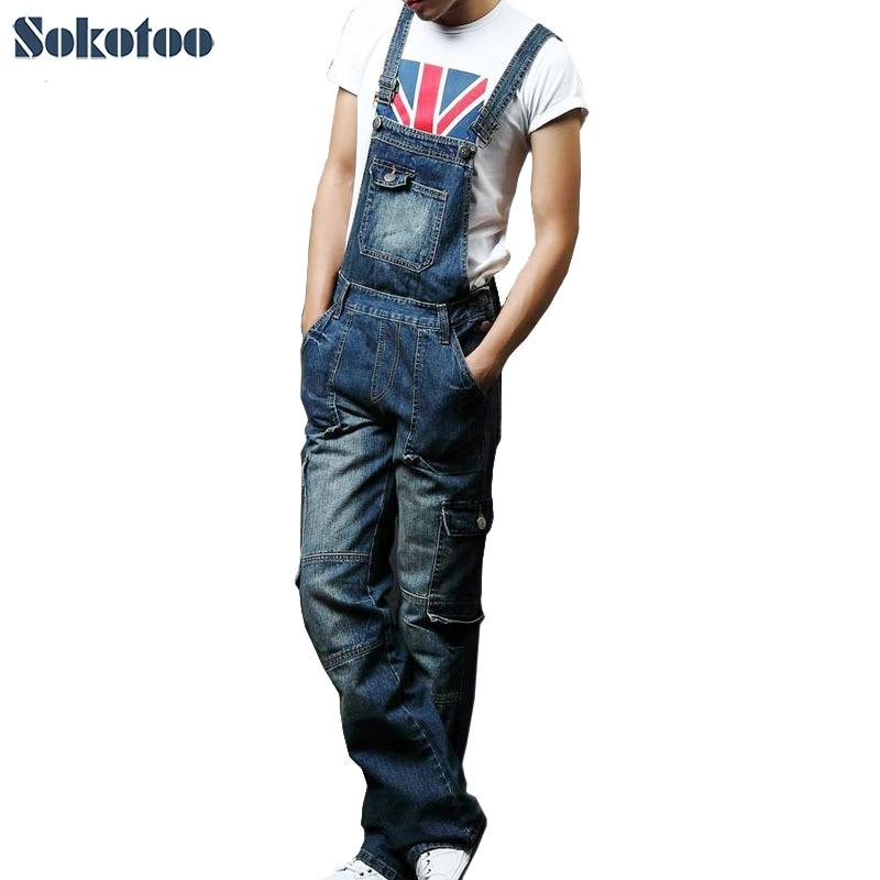 Sokotoo Men's plus size pocket overalls Fashion denim jeans for lovers Loose jumpsuits male Bib cargo pants