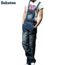 Sokotoo Для Мужчин's Большие размеры карман комбинезоны модные джинсы для любителей Свободные Комбинезоны Мужской нагрудник Брюки-карго