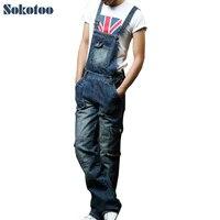 Sokotoo degli uomini più il formato tasca tuta Moda denim jeans per gli amanti Allentati tute Bavaglino maschio pantaloni cargo