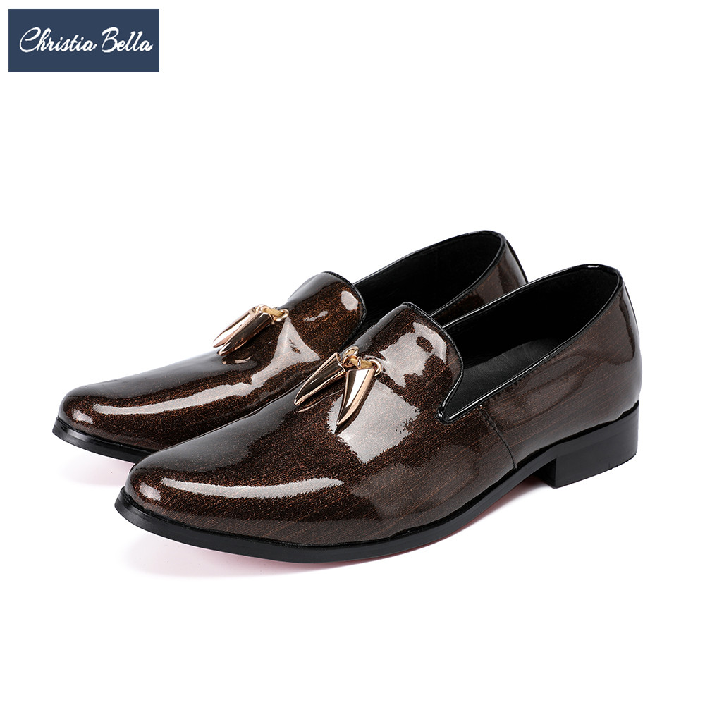 Christia Bella Fashion Italian Tassel Men Loafers Genuine Leather Men Business Shoes Brown Wedding Dress Shoes Slip on Big Size