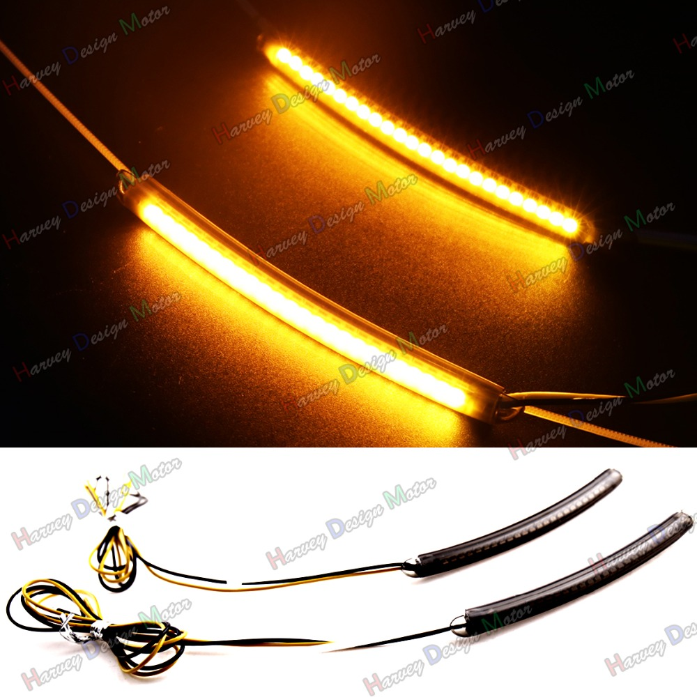 LED 46mm 49mm Fork Turn Signal Light Smoked Lens For Dyna Fat Bob Motorcycle