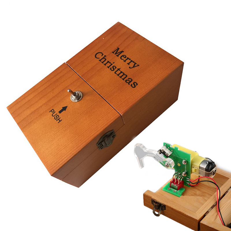 Creative Toys Turns Itself Off Brown Useless Box With Merry Christmas Logo Leave Me Alone Machine Assembled Real Wooden Toys