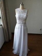 Echt Vintage White Lace Brautkleider 2016 Vestidos De Festa Sheer Zurück Puffy Chiffon Langen Abendgesellschaft Kleider Formale Kleider