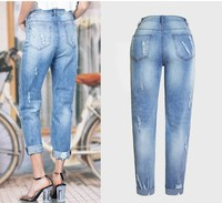 Red Rose Embroidered Jeans For Women Summer High Elastic Ripped Jeans Boyfriend Denim Pants