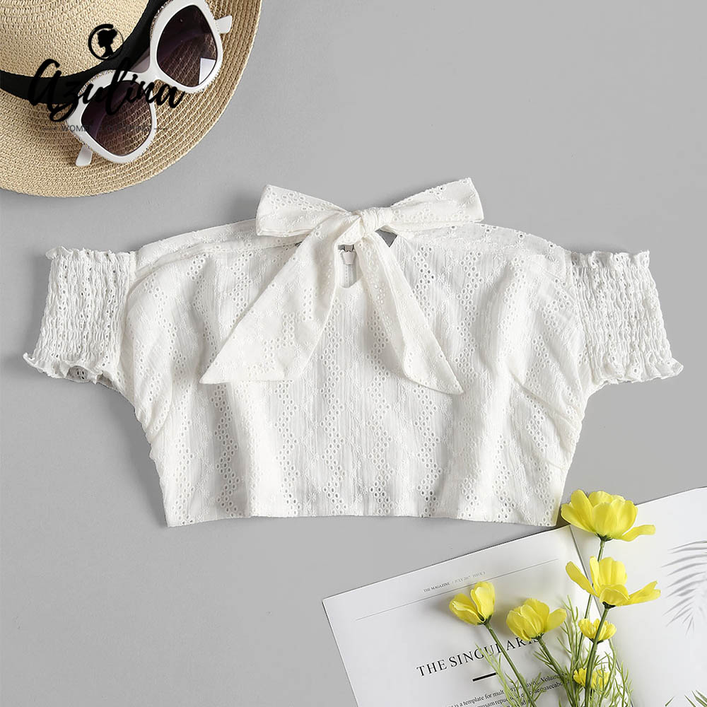 AZULINA Broderie Anglaise Off The Shoulder Top Women T-Shirt Summer Cotton Short Sleeve Crop Top White Top Smocked Sleeve Tops